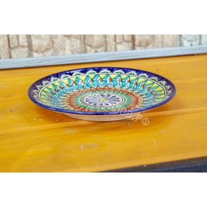 Тарелка синяя Риштан 22см плоская