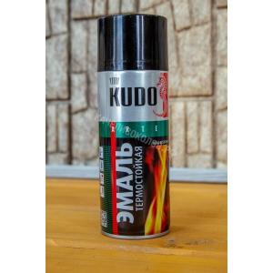 Краска - аэрозоль термостойкая черная 520мл KUDO