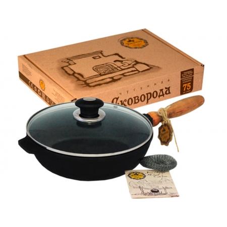 Сковорода чугунная 260*60 (Майст)стек.крышка