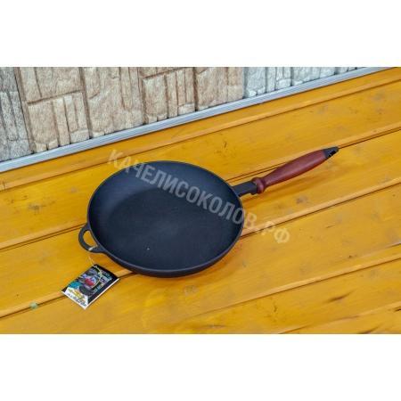 Сковорода чугунная (Ситон) с деревянной, съемной ручкой 260*40